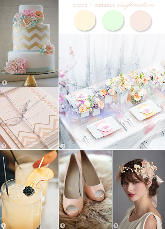 Peach inspiration board for weddings in summer