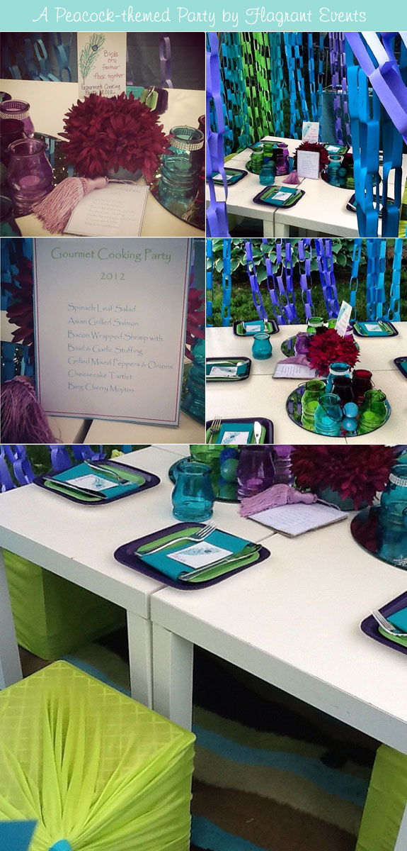 Bridal shower with purple, green, and aqua elements