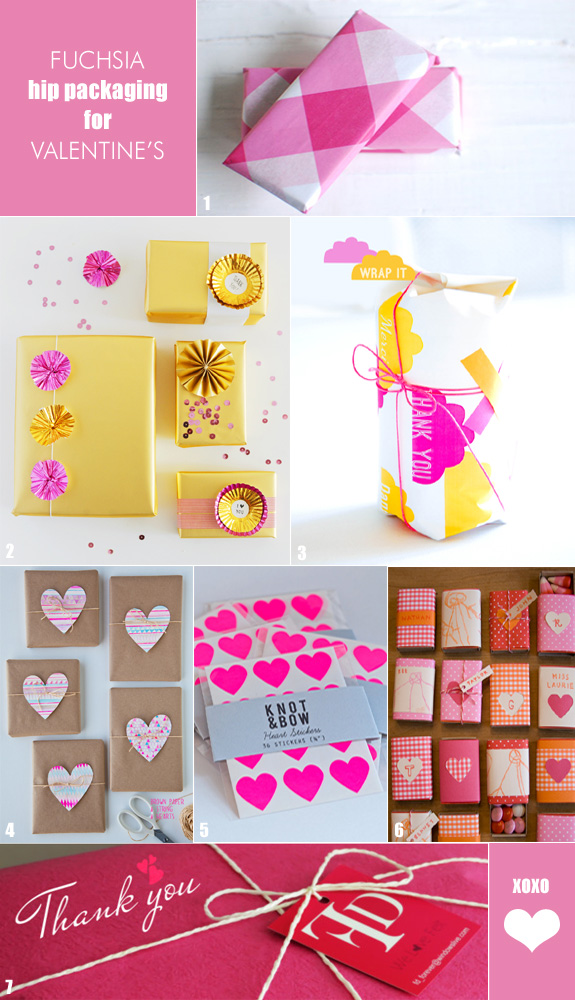 Valentine's packaging using pink and fuchsia
