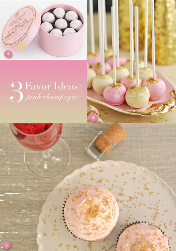 Pink and gold favor ideas