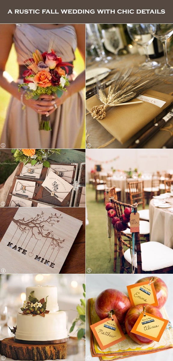 Fall wedding ideas with wood, wheat, apples