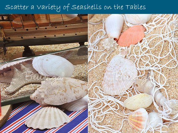Scattered seashells on reception tables