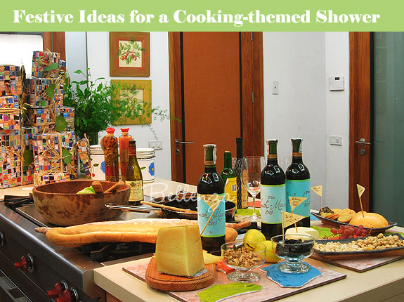 Kitchen scene for bridal shower with recipes