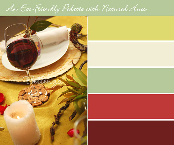 Eco-chic table decorations with natural colors