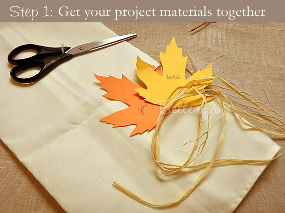 Project materials: raffia, paper, scissors