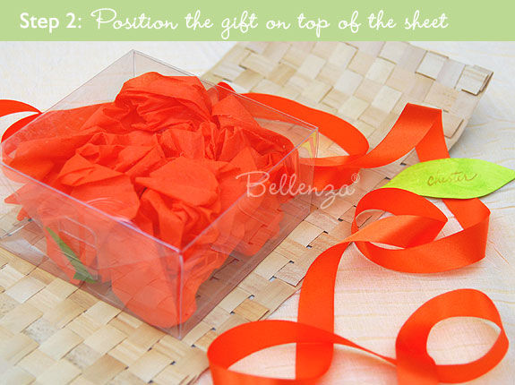 Center the gift box and wrap