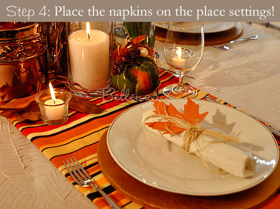 Decorate the Thanksgiving  place settings