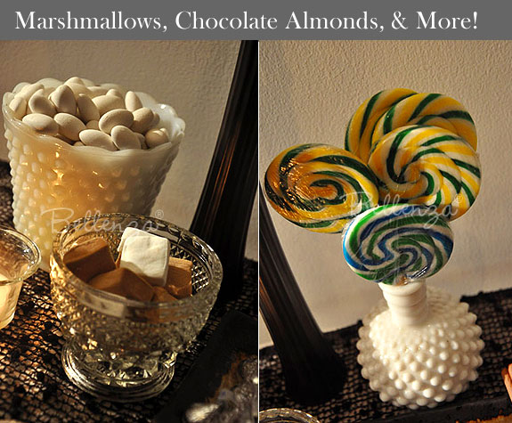 Marshmallows and yellow and green swirly pops