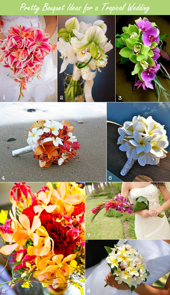 Tropical bouquets and flowers for a tropical wedding with orchids