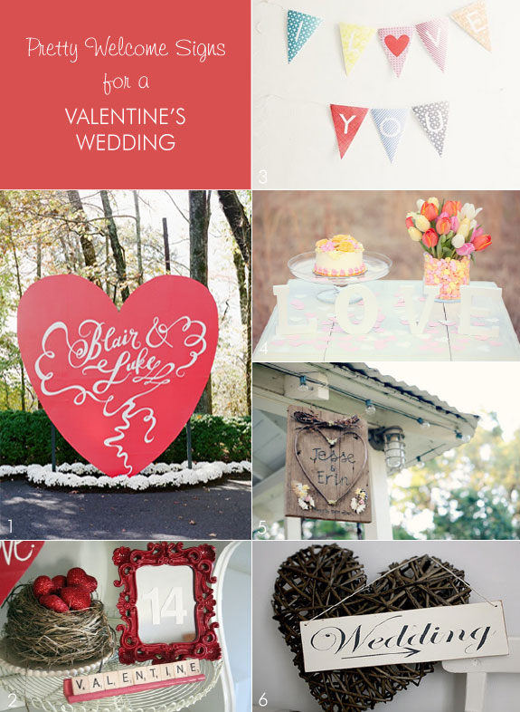 Welcome Signs for Valentine's Themed Wedding