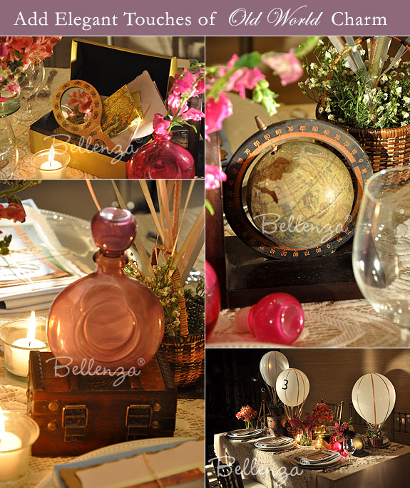 Vintage travel table props