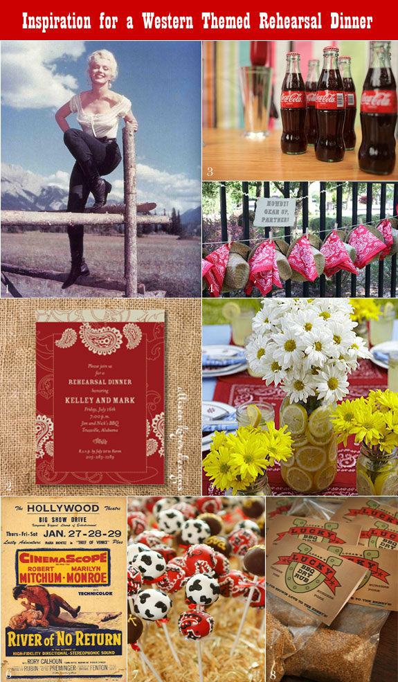 Western rehearsal dinner inspiration board from the bbq favors to centerpieces to cake pops