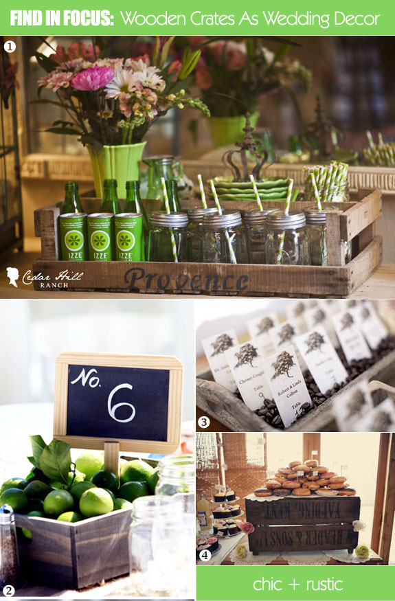 Ideas for using wooden crates as wedding decorations