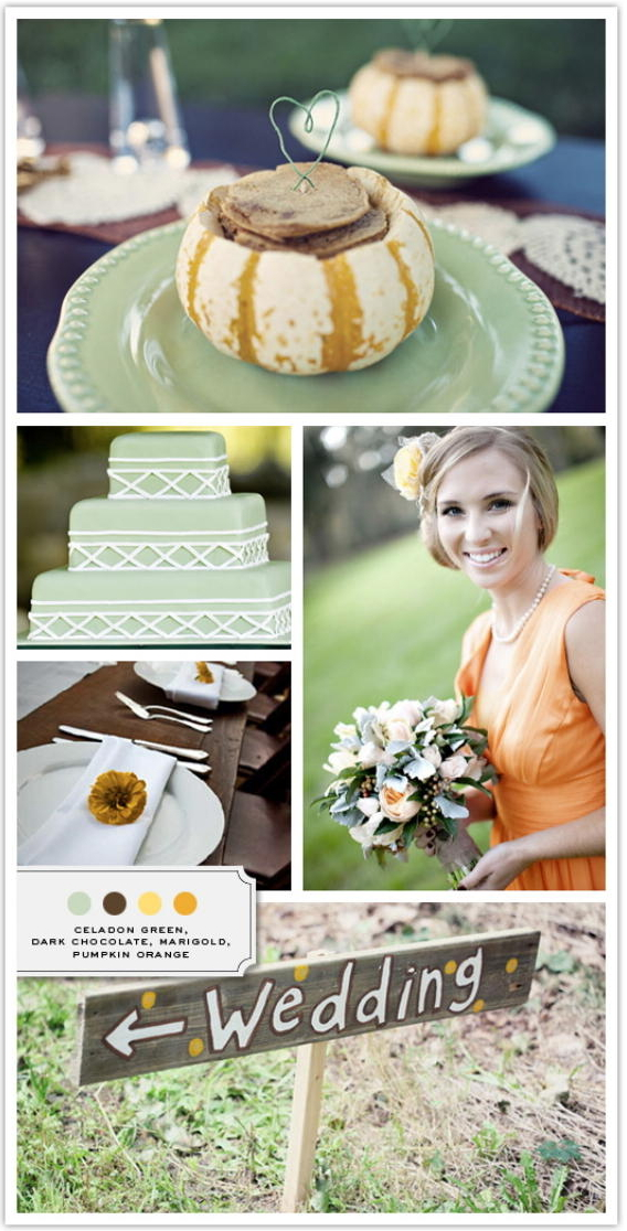 fall wedding with celadon