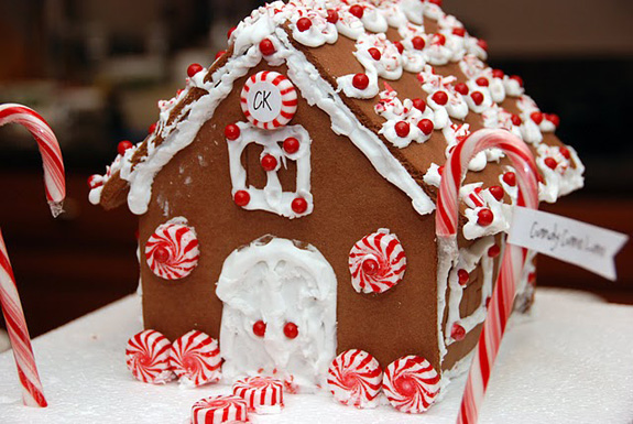 gingerbread house with peppermint swirls