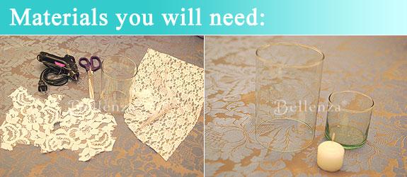Materials like scissors, lace fabric, glue