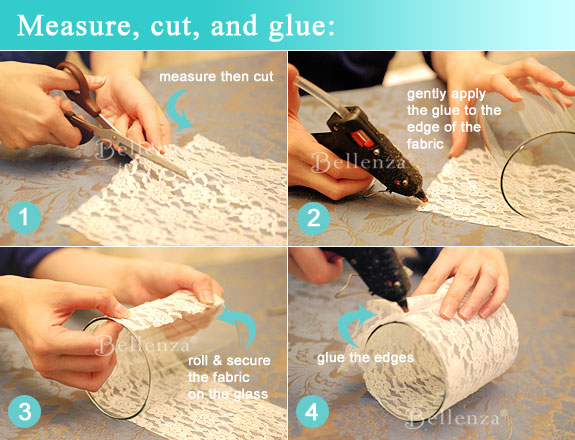 Cut and measuring the lace fabric in white