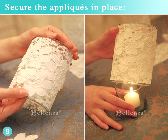 Finished glass votive holder with white lace rosette fabric