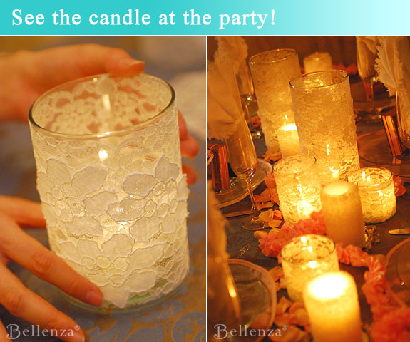 Display lace candle votive as table decorations