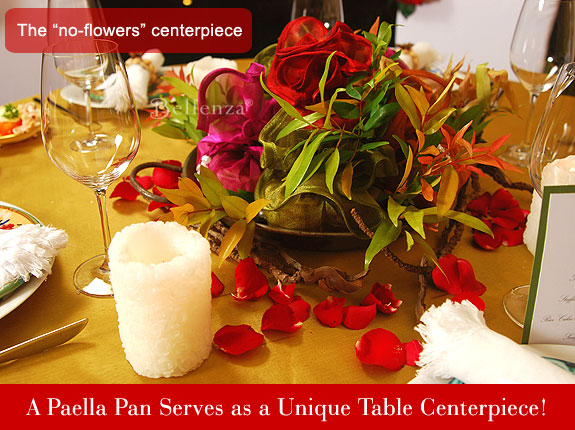 Table centerpiece using paella pan