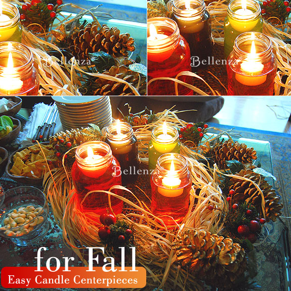 Floating candles in jars for fall centerpiece