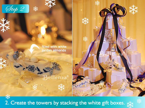 Stacked white favor boxes