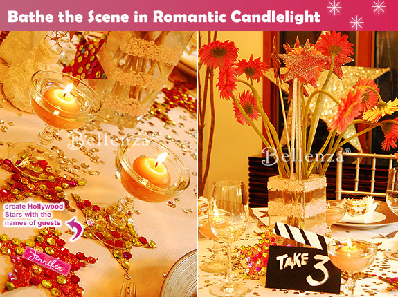 Sequins and stars with floating candles in glass goblets