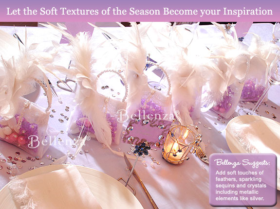 Touches of lilac, pink, and white feathers, with silver sequins.