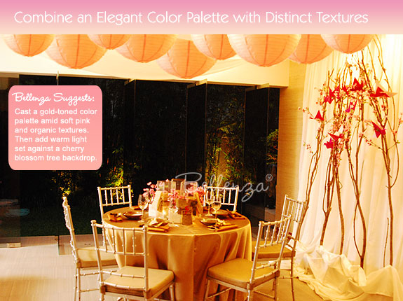 Soft pink and gold color scheme for table decorations