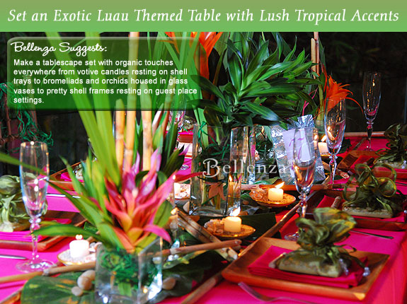 Candle centerpieces for a Luau tablescape.