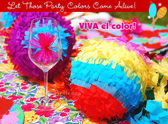 Colorful crepe paper balls for a Mexican fiesta party.