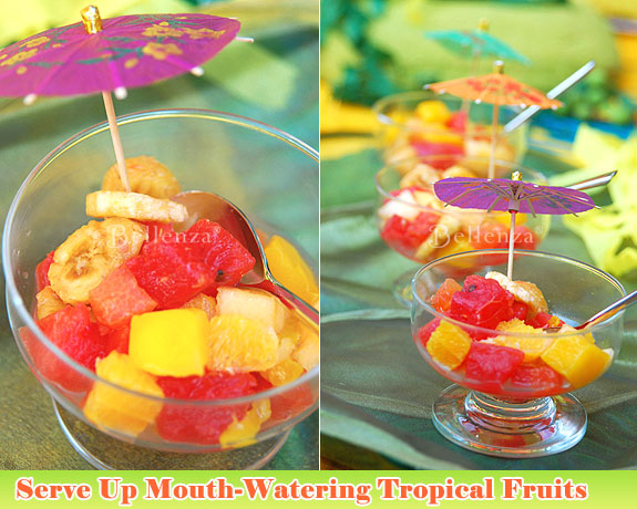 Serve tropical fruits salads in shapely glass goblets.