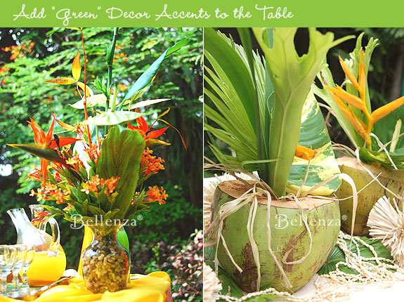 Coconut centerpiece with tropical leaves