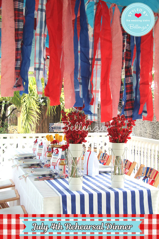 July 4th tablescape with ceiling decorations.