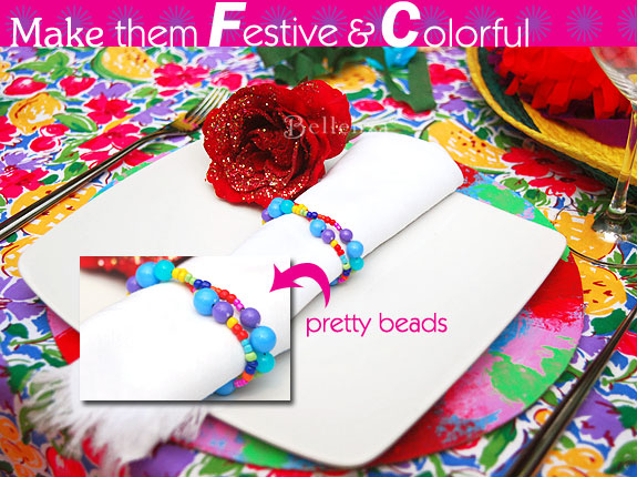 colorful cindo de mayo table napkin rings