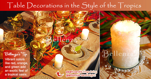 Tropical rehearsal dinner luau tablescape with elegant details.