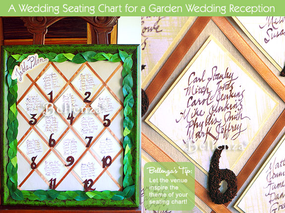 Green trellis themed seating chart