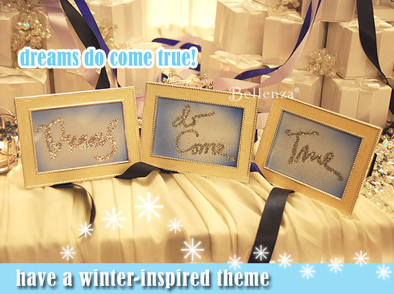 Winter wedding table signs