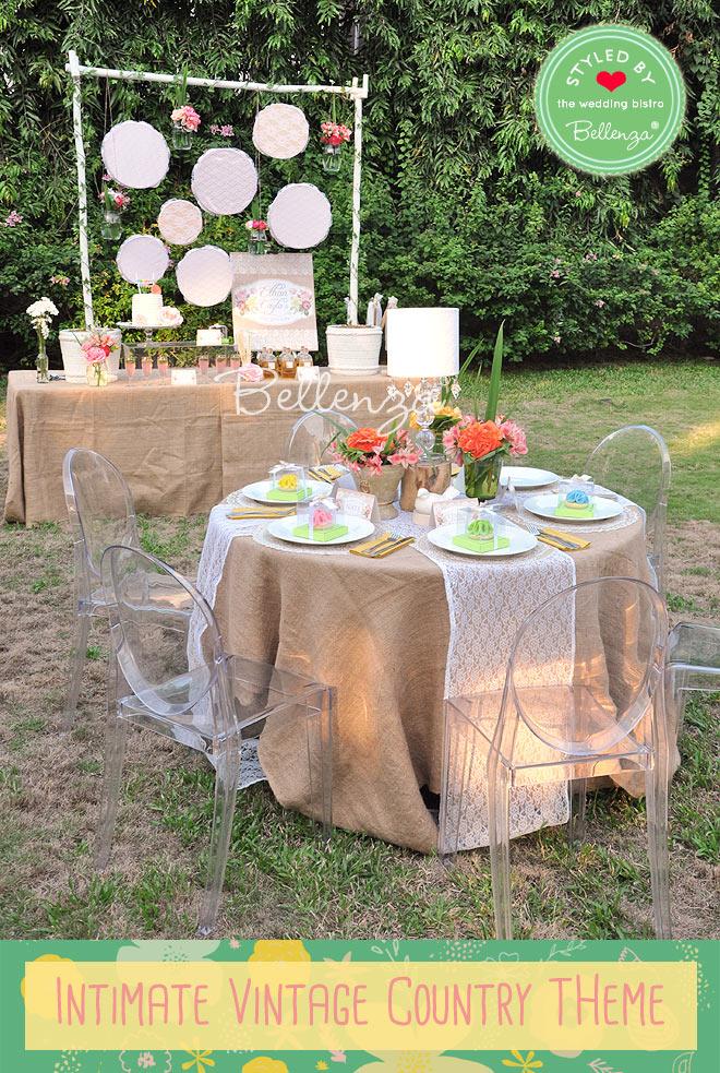Lace and burlap wedding tablescape details.