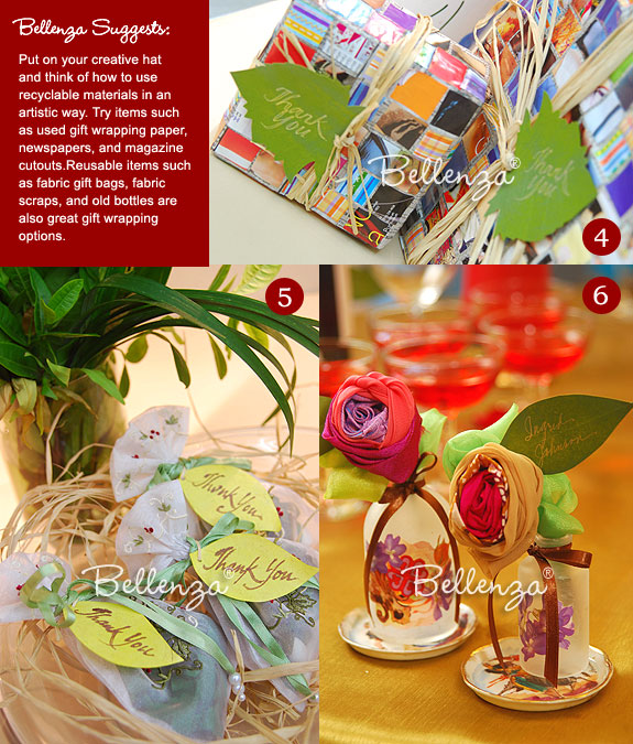 DIY eco-friendly spring favors from bottles to used gift wraps
