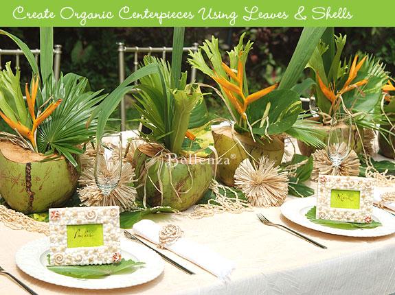 Outdoor tropical backyard tablescape