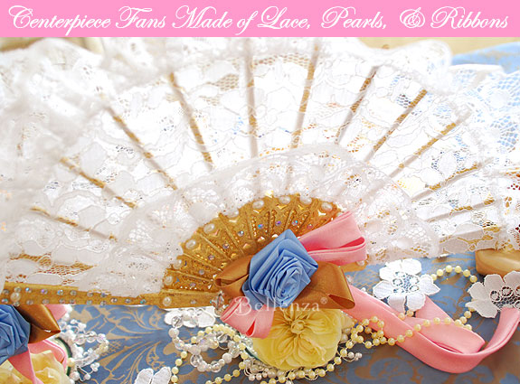 Lace fans as vintage wedding centerpieces