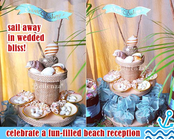 Beach wedding table signs