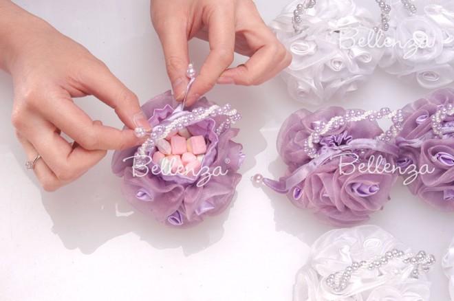 Vintage-rose sachet bags for a bridal shower tea party