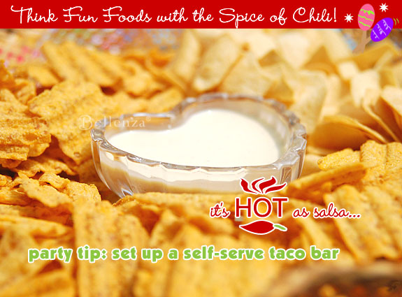 Chips and dips for a party.