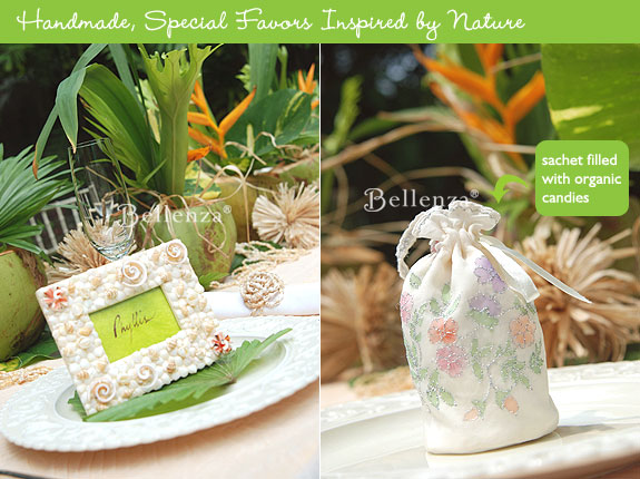 Tropical favors on display for guests.