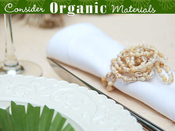 organic materials for a shell napkin ring