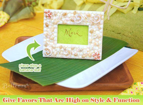 Sit guests in style with these seasshell keepsake frames.