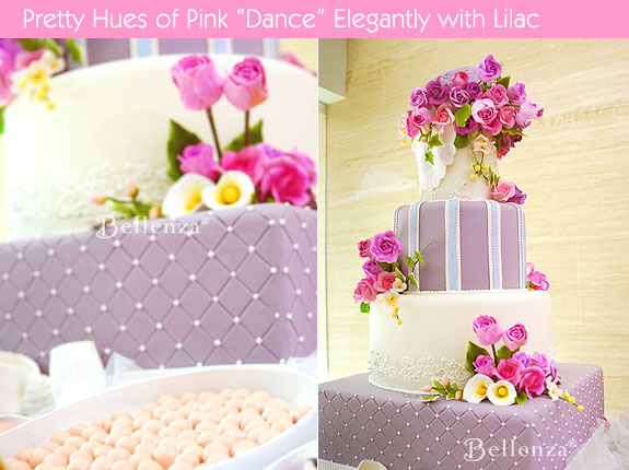 Pink and violet get paired in a weding cake.