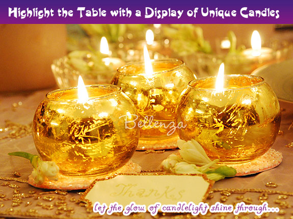 Add candlelight with jeweled votives.